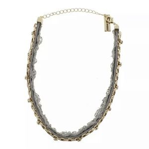 NEW Steve Madden Gray Crystal Lace Choker Necklace